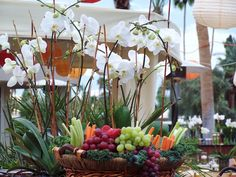 Work with the person providing the food and use these beautiful long lasting orchid plants to really add that festive touch!  Love this.  DAVE