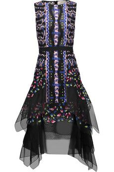 Peter Pilotto Flame belted embroidered silk-organza dress | THE OUTNET
