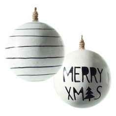 Accent Decor Merry Xmas Set Of 2 Wooden Ball Ornaments (125 NOK) ❤ liked on Polyvore featuring home, home decor, holiday decorations, white, christmas holiday decor, xmas ball ornaments, christmas tree ball ornaments, globe christmas ornament and christmas holiday decorations