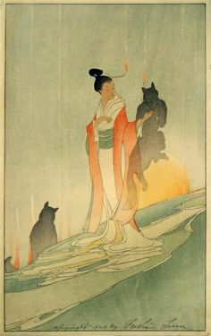 The Fox Woman, 1920   Bertha Lum woodblock. I love fox spirits and have read many ancient Chinese and Japanese stories about them, very mysterious.