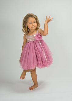 Beige y rosa imperio cintura bebé tul vestido con estiramiento