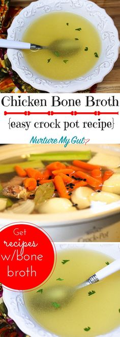 Chicken Bone Broth. Fast & Easy Crock Pot Recipe. 10 minute prep time & set it and forget it! Plus, get delicious recipes made with bone broth your whole family will love!
