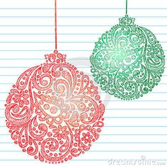 Sketchy Christmas Ornaments Notebook Doodles by Blue67, via Dreamstime