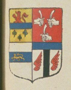 Jean D'ANCEL / DANCEL, Escuier, conseiller du Roy, grand prévost provincial de l'ancienne maréchaussée provincialle généralle du Poitou. Porte : Ecartelé au premier d'or, à une fasce d'azur, accompagnée en chef d'un lion naissant de gueules, et en pointe de trois trèfles de sinople, deux et un ; au seconde de gueules, à trois mains d'argent, tenant chacune un coutelas de même, deux en chef et une en pointe, les deux du chef confrontées ; au troisième d'argent, à une fasce d'azur [...] | N°…