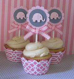 Baby Shower Elefantes rosa y gris - Dale Detalles Baby Shower Elephants pink and gray - Give Details Elephant Party, Elephant Theme, Elephant Baby Showers, Baby Elephant, Baby Shower Cupcakes, Baby Shower Parties, Baby Shower Themes, Shower Ideas, Party Cupcakes
