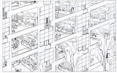 Le Corbusier - Freehold Maisonettes, the hanging gardens Architectes Zaha Hadid, Zaha Hadid Architects, Fondation Louis Vuitton, Landscape Architecture Drawing, Modern Architecture House, Frank Gehry, Villas, Le Corbusier Architecture, Social Housing