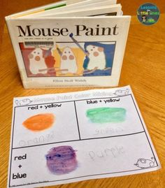 Hands-on & Interactive Color Activities for Practicing Color Recognition & Color Words - Lessons for - Mouse Paint color mixing activity plus additional activities for teaching colors, color recognition - Color Words Kindergarten, Color Activities Kindergarten, Mouse Paint Activities, Kindergarten Art Lessons, Preschool Colors, Teaching Colors, Art Therapy Activities, Preschool Classroom, Classroom Activities
