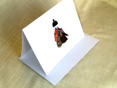 Japanese Doll Card  Boy black and red with by ChiyogamiCrafts, $5.00