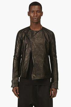 Rick Owens Black Textured Deerskin Jacket for men | SSENSE
