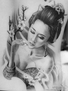 I think this is on the persons back, but not positive. It's amazing work! Geisha Tattoos, Tatoo Geisha, Japanese Geisha Tattoo, Geisha Tattoo Design, Geisha Art, Japanese Tattoo Designs, Japanese Sleeve Tattoos, Japanese Art, Leo Tattoos