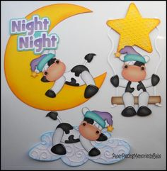 Premade Paper Pieced Night Night Cow Set for Scrapbook Pages -by Babs