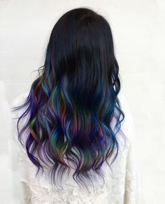 If one colour isn't exciting enough for you, you'll love rainbow hair. With inspiration, tips on how to get rainbow hair & colour care tips. Men Hair Color, Hair Dye Colors, Cool Hair Color, Oil Slick Hair Color, Creative Hair Color, Rainbow Hair, Crazy Hair, Hair Highlights, Ombre Hair