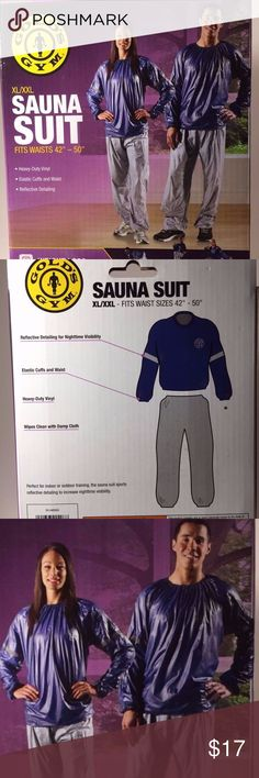 Sauna Suit Golds Gym Top Only XL-XXL Brand new in box. Golds Gym unisex sauna suit. Long sleeve heavy duty vinyl TOP ONLY. Easily washable. reflective detailing. elastic cuffs and waist. Indoor/outdoor. Designed to enhance weight loss during exercise. size XL-XXL. 2 available. Gold's Gym Tops Sweatshirts & Hoodies