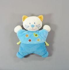 Doudou semi-plat coussin chat bleu et escargot Nicotoy 25 cm