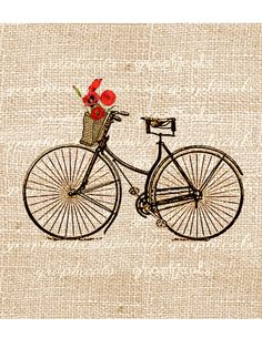 Vintage bicycle digital download image Basket Orange Poppies with or without Paris Streets transfer to fabric paper pillows burlap No. 586. $1.00, via Etsy.