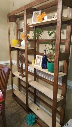 Book shelves made from an old box spring.