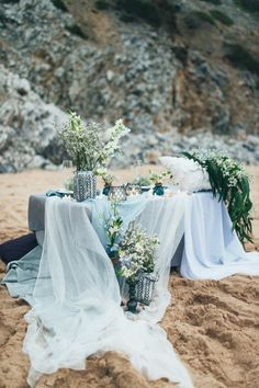 shades of blue beach wedding table settings beach wedding 37 Prettiest Shades of Blue Wedding Ideas for 2019 Trends - Oh Best Day Ever Beach Wedding Tables, Blue Beach Wedding, Beach Wedding Decorations, Wedding Table Settings, Wedding Centerpieces, Wedding Colors, Wedding Ceremony, Dream Wedding, Trendy Wedding