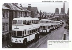 Bournemouth UK:Trolley buses lined up, in Southcote Road, the day before Trolley bus services began. Bournemouth England, Automobile, Nostalgia, Bus Coach, London Bus, Busses, Local History, Public Transport, Transportation