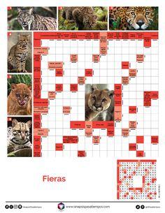 Autodefinidos. Fieras. #Pasatiempos #Autodefinidos #Felinos #Fieras #Salvajes  Más en www.sinapsispasatiempos.com Crossword Puzzles, Alphabet Soup, Savages, Picture Backdrops, Entertainment, Blue Prints, Life