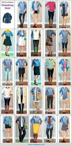 24 ways to wear a chambray shirt