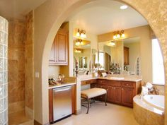"""A """"Morning Bar"""" for coffee, wine, mini refrigerator, etc. - in the bathroom! Whaaat? The things people think of! :)"""