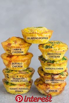 9 Low Carb Breakfast Egg Cups - Keto Breakfast - Ideas of Keto Breakfast - 9 Low Carb Breakfast Egg Muffin Cups are packed with protein and perfect for busy mornings weekend or holiday brunch. Best of all so easy make-ahead breakfast for on the go. Quick High Protein Breakfast, Breakfast On The Go, Make Ahead Breakfast, Perfect Breakfast, Healthy Breakfast Recipes, Breakfast Ideas, Breakfast Carbs, Healthy Brunch, Brunch Ideas