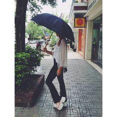 ☆★ Look cómodo y chic para esta tarde de lluvia ☆★   ~ Musculosa Good Vibes ~ Kimono Lunares ~Jeggin Oxford ~ Isidora Vip Rosa