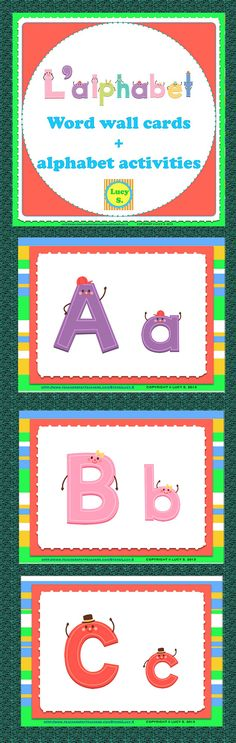$ Uppercase and lowercase letter cards + alphabet activities. Click to check it out! Merci!