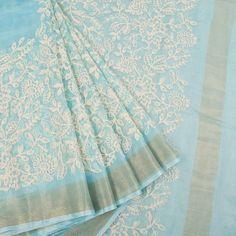 Buy online Embroidered Blue Kota Silk Saree With Floral Motifs & Net Zari Border 10015075