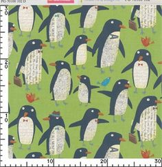 Nancy Wolff for Kokka Japan, Penguins Green