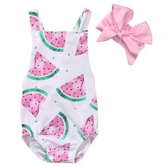 Take a bite out of summer with this vibrant watermelon romper with matching pink bow. Available in sizes 3 - 24 months. +Set +Romper & Bow +White & Pink