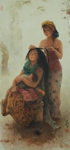 Lee Man Fong - Combing Hair (sold for $ 311,627) Indonesian Art, Fashion Painting, Art Journal Inspiration, Famous Artists, Chinese Art, Asian Art, Female Art, Les Oeuvres, Contemporary Art