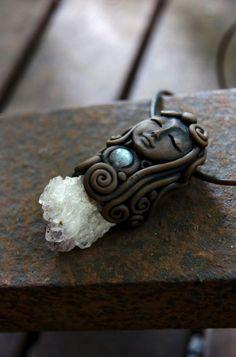 Goddess Amethyst Cluster  and Labradorite Gemstone by TRaewyn, $85.00