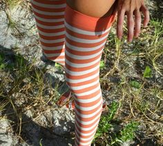 White Striped Thigh Highs in Orange by We Love Colors
