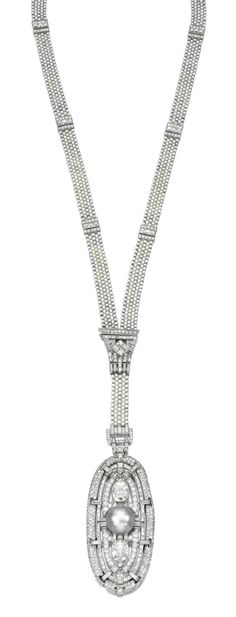 ATTRACTIVE NATURAL PEARL AND DIAMOND SAUTOIR,  LATE 1920s. Designed as a seed pearl necklace  highlighted at intervals with geometric spacers set with baguette and single-cut diamonds suspending a detachable oval pendant centring on a natural pearl of grey tint, further set with baguette, oval, circular- and single-cut diamonds, inner circumference approximately 590mm, indistinct maker's marks, case.