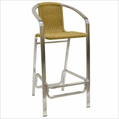 Aluminum and Synthetic Bamboo Restaurant Bar Stool. Availability: In Stock. Minimum order of 8. This is a durable aluminum indoor barstool. Fully welded aluminum frame. Synthetic bamboo with natural finish back and seat.
