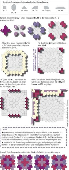 English Paper Piecing Anleitung Patchwork der Kreuze Tutorial Patchwork of the Crosses
