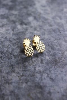 Pineapple Stud Earrings. Boyfriend got me these for my 15th Birthday