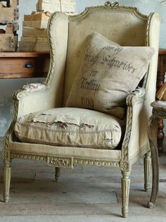 love the tattered chair...works with the grain sack pillow