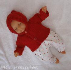 Habits poupon 30 cm - ensemble d'hiver rouge 'petits coeurs' : Jeux, jouets par mcl-poupees