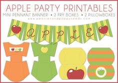 Apple Party Printables: Boxes and Banner   Peonies and Poppyseeds