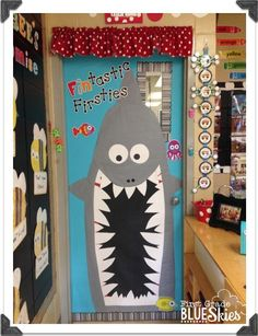 BUStin' into School! Back to School Craft and Bulletin Board {Giveaway} - First Grade Blue Skies Classroom Bulletin Boards, Classroom Door, Classroom Design, Classroom Displays, Classroom Themes, Ocean Bulletin Boards, Teacher Doors, School Doors, Class Decoration