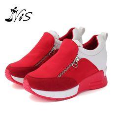 Menor de La Manera Mujeres Rojo Negro Al Aire Libre Para Caminar Zapato Dentro de Aumento de Alta Casual Señoras de La Mujer ZipperThick Pisos Zapatos de La Venta Caliente