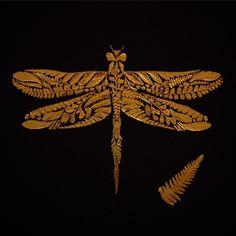 Fern leaves covered in gold leaf made into a dragonfly. Shiiinyy #dragonfly #fern #gold #illustration #art #artwork #pattern #insect #herbarium #entomology #leaf