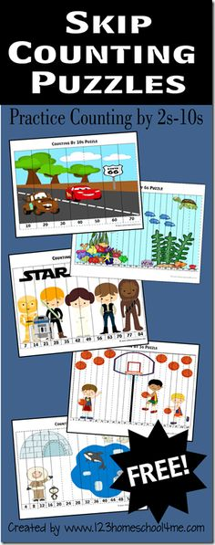 FREE Skip Counting Puzzles are a way cool math games for Kindergarten, first grade, grade, grade, grade students to practice counting by and so they are ready for multiplication. This is a fun math activity Alphabet Kindergarten, Homeschool Kindergarten, Elementary Math, Teaching Math, Teaching Resources, Preschool, Fun Math Games, Math Activities, Counting Puzzles