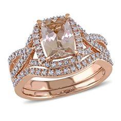 Cushion-Cut+Morganite+and+1/4+CT.+T.W.+Diamond+Frame+Bridal+Set+in+10K+Rose+Gold