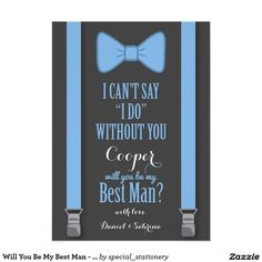 Will You Be My Best Man - Blue Tie Braces Card