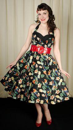 Hell Bunny Sassy Parrot Tropical Dress $78