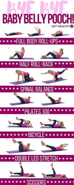Postpartum Pilates Core Workout - Get Healthy U - Time for mom to get strong! Blast away that baby belly pooch with these killer Pilates exercises that strengthen your core and tone your entire body. This is the perfect nap time workout.