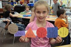 The Fraction Bug - some ideas for introducing fractions! Color coding is a great way to differentiate fractions. Could use etc to show compatible fractions. Teaching Fractions, Math Fractions, Teaching Math, Equivalent Fractions, Teaching Ideas, Dividing Fractions, Fraction Activities, Math Resources, Math Activities